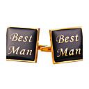 cheap Men's Cufflinks-Square Cut Golden Cufflinks Vintage / Fashion Men's / Women's Costume Jewelry For