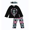cheap Girls' Pants & Leggings-Girls' Clothing Set, Cotton Spring Fall Long Sleeves Black