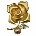 cheap Earrings-Women's Synthetic Diamond Brooches - Imitation Pearl, Gold Pearl Flower Personalized, Classic, Fashion Brooch Silver / Golden For Party / Gift / Evening Party