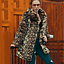 cheap LED String Lights-Women's Party / Daily Vintage / Street chic / Sophisticated Winter Plus Size Long Fur Coat, Leopard Shirt Collar Long Sleeve Faux Fur Brown XL / XXL / XXXL
