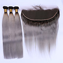 cheap Synthetic Capless Wigs-Brazilian Hair Straight Hair Weft with Closure Human Hair Weaves Black / Grey Human Hair Extensions