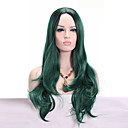 cheap Headsets & Headphones-Synthetic Wig Wavy Synthetic Hair African American Wig Green Wig Medium Length Capless Green