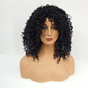 cheap Synthetic Capless Wigs-Synthetic Wig Jerry Curl With Bangs Synthetic Hair Black Wig Women's Medium Length Capless Dark Black