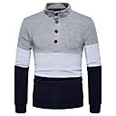 cheap Men's Bracelets-Men's Daily Solid Colored Long Sleeve Regular Cardigan, Turtleneck Spring / Fall Navy Blue / Light gray L / XL / XXL
