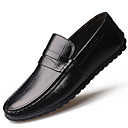 cheap Men's Slip-ons & Loafers-Men's Moccasin Leather Fall / Winter Comfort Loafers & Slip-Ons Black / Brown