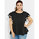 cheap Necklaces-Women's Street chic Plus Size Cotton T-shirt - Solid Colored, Pleated