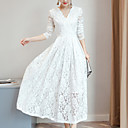 cheap Boys' Clothing Sets-Women's Casual Sheath / Lace Dress - Solid Colored Lace Maxi V Neck / Spring / Fall