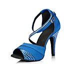 cheap Women's Athletic Shoes-Women's Latin Shoes Satin Sandal Rhinestone Stiletto Heel Customizable Dance Shoes Purple / Blue / Performance / Leather