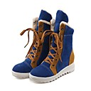 cheap Women's Boots-Women's Shoes Flocking Fall / Winter Mary Jane / Snow Boots Boots Flat Heel Round Toe Booties / Ankle Boots Lace-up Red / Blue / Camel