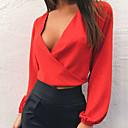 hesapli Moda Saatler-Kadın's V Yaka Solid Bluz