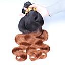 preiswerte Haarzöpfe-Brasilianisches Haar Große Wellen Ombre Menschliches Haar Webarten Schwarz / Medium Auburn Haarverlängerungen
