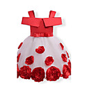 cheap Girls' Dresses-Girl's Birthday Daily Holiday Solid Floral Jacquard Dress, Cotton Polyester Fall All Seasons Short Sleeves Floral Bow Lace Red Blushing