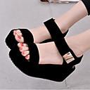 povoljno Ženske sandale-Žene Cipele PU Ljeto Udobne cipele Sandale Creepersice Otvoreno toe Obala / Crn / Poluga pete