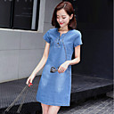 cheap Women's Sandals-Women's Plus Size Going out Street chic Sheath / Denim Dress - Solid Colored / Patchwork