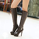cheap Women's Boots-Women's Shoes Leatherette Fall / Winter Ankle Strap / Fashion Boots Boots Stiletto Heel / Platform Round Toe Knee High Boots Imitation