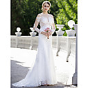 cheap Latin Shoes-Mermaid / Trumpet Plunging Neck Sweep / Brush Train Lace / Satin Made-To-Meature Wedding Dresses with Appliques by LAN TING BRIDE®