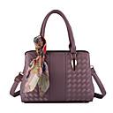 cheap Totes-Women's Bags PU Tote Zipper Gray / Purple / Khaki