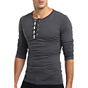 cheap Headsets & Headphones-Men's T-shirt - Solid Colored Round Neck / Long Sleeve