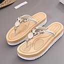 povoljno Ženske sandale-Žene Cipele PU Ljeto Udobne cipele Papuče i japanke Ravna potpetica Otvoreno toe Crn / Bež / Fuksija