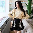 זול מכנסים וחולצות להייקינג-בגדי ריקוד נשים סגנון סיני סגנון רחוב ישר שורטים מכנסיים רקום, אחיד רקמה