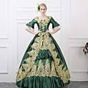cheap Historical & Vintage Costumes-Dress Cosplay Costume Masquerade Ball Gown Women's Victorian Medieval Renaissance Christmas Halloween Carnival Festival / Holiday Outfits Green Plus Size Customized Ball Gown Solid Color Lace / Satin