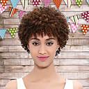 お買い得  人毛キャップレスウイッグ-女性 人工毛ウィッグ キャップレス ショート丈 カーリー オーバーン ブラックアメリカン風ウィッグ ナチュラルウィッグ コスチュームウィッグ