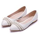 cheap Women's Boots-Women's Shoes PU(Polyurethane) Spring / Fall Comfort / Novelty Flats Flat Heel Pointed Toe Rhinestone / Pearl / Flower White / Wedding