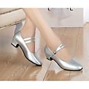 cheap Dance Sneakers-Women's Modern Shoes Cowhide Heel Dance Shoes Black / Silver / Practice