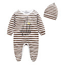 cheap Anklet-Baby Girls' Stripes Stripe Long Sleeve 100% Cotton Overall & Jumpsuit Brown 12-18 Months(90cm)