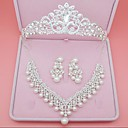 cheap Jewelry Sets-Women's Synthetic Diamond Jewelry Set - Crown Classic, Simple Style Include Stud Earrings / Necklace Silver For Wedding / Party / Birthday / Engagement / Valentine