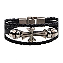 cheap Religious Jewelry-Men's Leather Bracelet Vintage Fashion Leather Alloy Cross Circle Jewelry Casual Street Costume Jewelry Black Brown