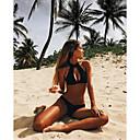 cheap Women's Heels-Women's Plunging Neckline / Lace Up Halter Neck Black Bikini Swimwear - Solid Colored S M L / Sexy