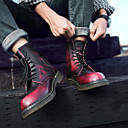 זול מגפיים לגברים-בגדי ריקוד גברים מגפיי קרב עור סתיו / חורף מִעוּטָנוּת מגפיים שחור / חום / אדום / ניטים / EU40