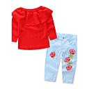 tanie Topy dla dziewczynek-Brzdąc Dla dziewczynek Kwiatowy / Elegancka odzież Jendolity kolor / Kwiaty Nadruk Długi rękaw Bawełna Komplet odzieży