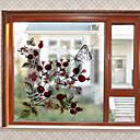 baratos Películas e Adesivos de Janela-Floral Natal Adesivo de Janela, PVC/Vinil Material Decoração de janela Sala de Estar