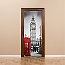 cheap Nintendo Switch Accessories-77*200cm 3D Door Mural Stickers British Big Ben Red Telephone Booth Street Wall Mural Home Decoration City Scenery People Visiting Sticker Decal