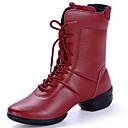 זול Dance Boots-בגדי ריקוד נשים מגפי ריקוד עור מגפיים עקב עבה נעלי ריקוד שחור / אדום / הצגה
