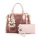 preiswerte Umhängetaschen-Damen Taschen Pelz Bag Set 2 Stück Geldbörse Set Reißverschluss Weiß / Schwarz / Rosa