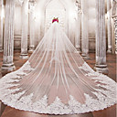 cheap Party Supplies-One-tier Wedding Veil Cathedral Veils with Beading / Appliques Lace / Tulle / Angel cut / Waterfall