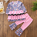 cheap Girls' Clothing Sets-Toddler Girls' Retro / Ruffle Floral / Patchwork Long Sleeve Regular Regular Cotton / Polyester Clothing Set Pink 2-3 Years(100cm) / Cool