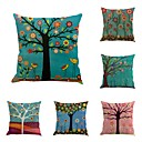 cheap Pillow Covers-6 pcs Cotton / Linen Pillow Cover / Pillow Case, Novelty / Classic / Oil Painting Classical / Retro / Traditional / Classic