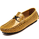 זול נעלי אוקספורד לגברים-בגדי ריקוד גברים מוקסין עור נאפה Leather אביב / סתיו נוחות נעליים ללא שרוכים שחור / צהוב / כחול / מסיבה וערב