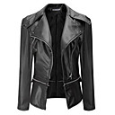 cheap Synthetic Capless Wigs-Women's Leather Jacket - Solid Colored V Neck
