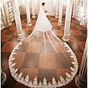 preiswerte Hochzeit Schals-Einschichtig Hochzeitsschleier Kathedralen Schleier mit Applikationen Spitze / Tüll / Engelschnitt / Wasserfall