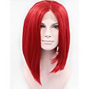 tanie Syntetyczne peruki z siateczką-Syntetyczne koronkowe peruki Prosto Włosy syntetyczne Czerwony Peruka Damskie Krótki Koronkowy przód