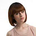 cheap Synthetic Capless Wigs-Synthetic Wig Straight Bob Haircut / With Bangs Synthetic Hair Ombre Hair Brown Wig Women's Medium Length Capless Dark Brown / Dark Auburn