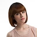 cheap Costume Wigs-Synthetic Wig Straight Bob Haircut / With Bangs Synthetic Hair Ombre Hair Brown Wig Women's Medium Length Capless Dark Brown / Dark Auburn MAYSU