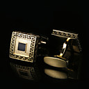 cheap Jewelry Sets-Geometric Golden Cufflinks Pattern Men's Costume Jewelry For