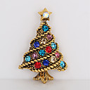 cheap Religious Jewelry-Brooches - Rhinestone Tree of Life Simple, Sweet Brooch Gold For Christmas