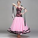 저렴한 볼룸 댄스 웨어-볼륨 댄스 여성용 성능 레이스 우유 섬유 조젯 레이스 꽃패턴 민소매 내츄럴 드레스